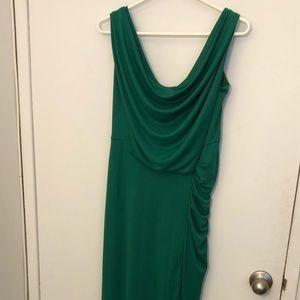 Emerald green jersey evening dress by BCBG